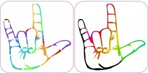 [2x] 2.5″x2.5″ Multi Color Rainbow I Love You Sign Language Bumper Sticker Decal Vinyl Stickers Decals