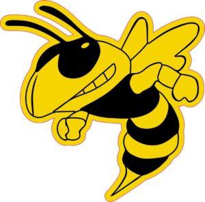 3.5in x 3.5in Left Facing Yellow Black Hornet Bee Masc Bumper Sticker Vinyl Window Decal