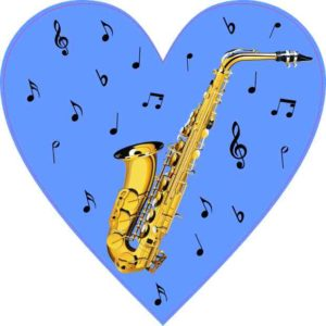 Blue Saxophone Heart Sticker