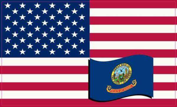 America and Idaho Flag Sticker