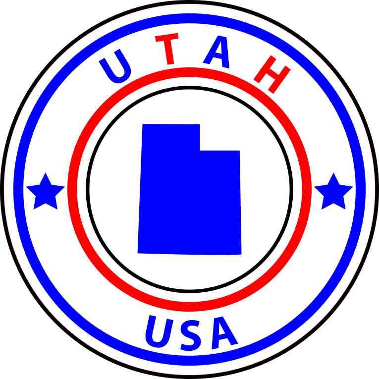 5in X 5in State Circle Utah Sticker Vinyl Bumper Sticker