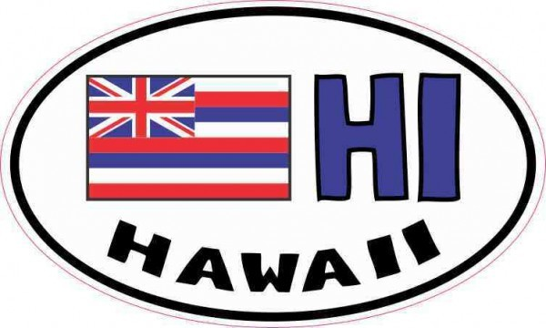 Oval HI Hawaii Flag Sticker