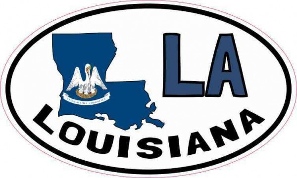 Oval LA Louisiana Sticker