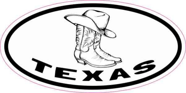Oval Hat and Boots Texas Sticker
