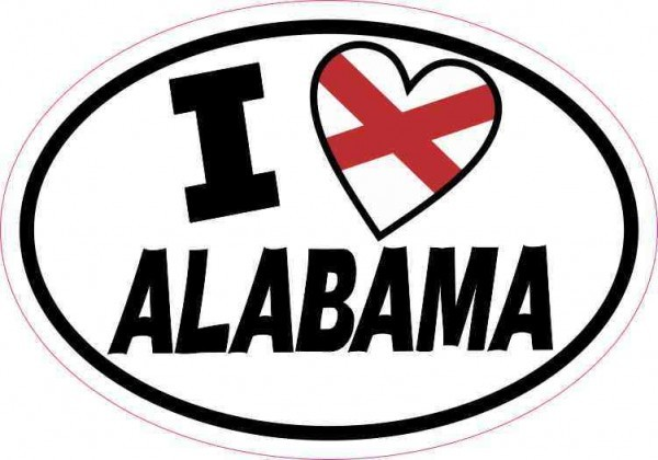 Oval I Love Alabama Sticker