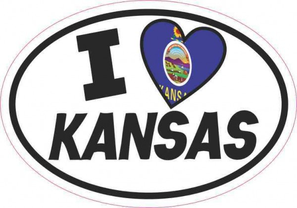 Oval I Love Kansas Sticker