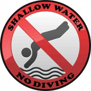 Shallow Water No Diving Permanent Vinyl Sticker