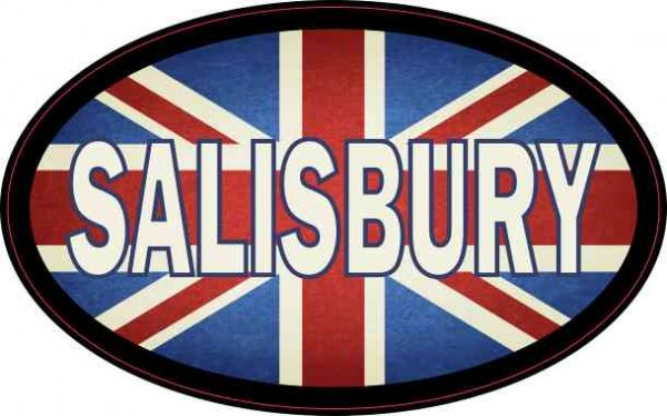 Oval UK Flag Salisbury Sticker
