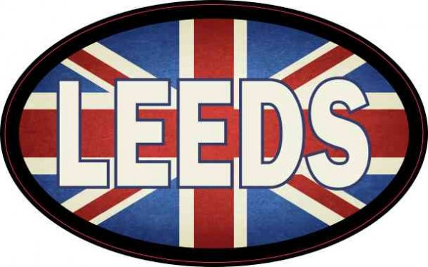 Oval UK Flag Leeds Sticker