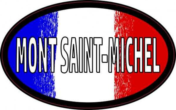 Oval French Flag Mont Saint-Michel Sticker