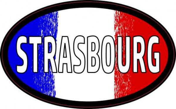 Oval French Flag Strasbourg Sticker