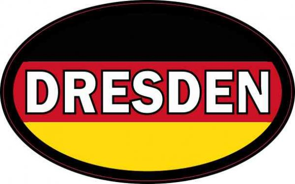 Oval German Flag Dresden Sticker