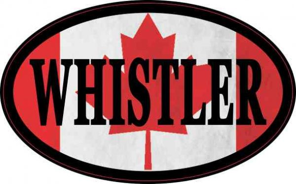 Oval Canadian Flag Whistler Sticker