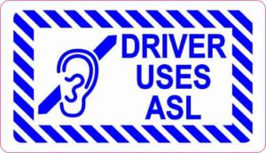 Driver Uses ASL Sticker
