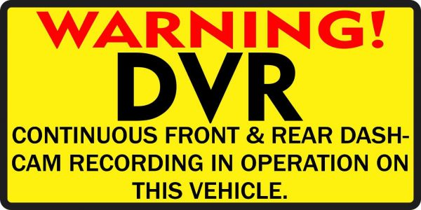 Inside Adhesive Warning DVR Sticker