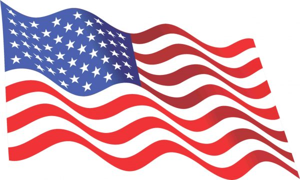 Waving American Flag Sticker