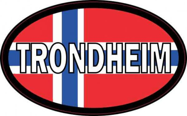 Oval Norwegian Flag Trondheim Sticker