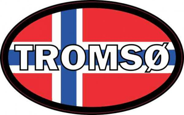 Oval Norwegian Flag Tromsø Sticker