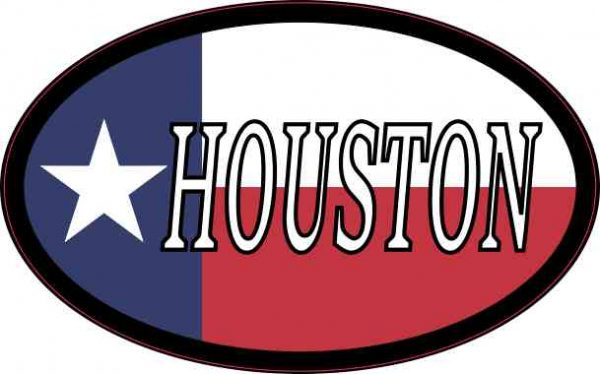 Oval Texan Flag Houston Sticker